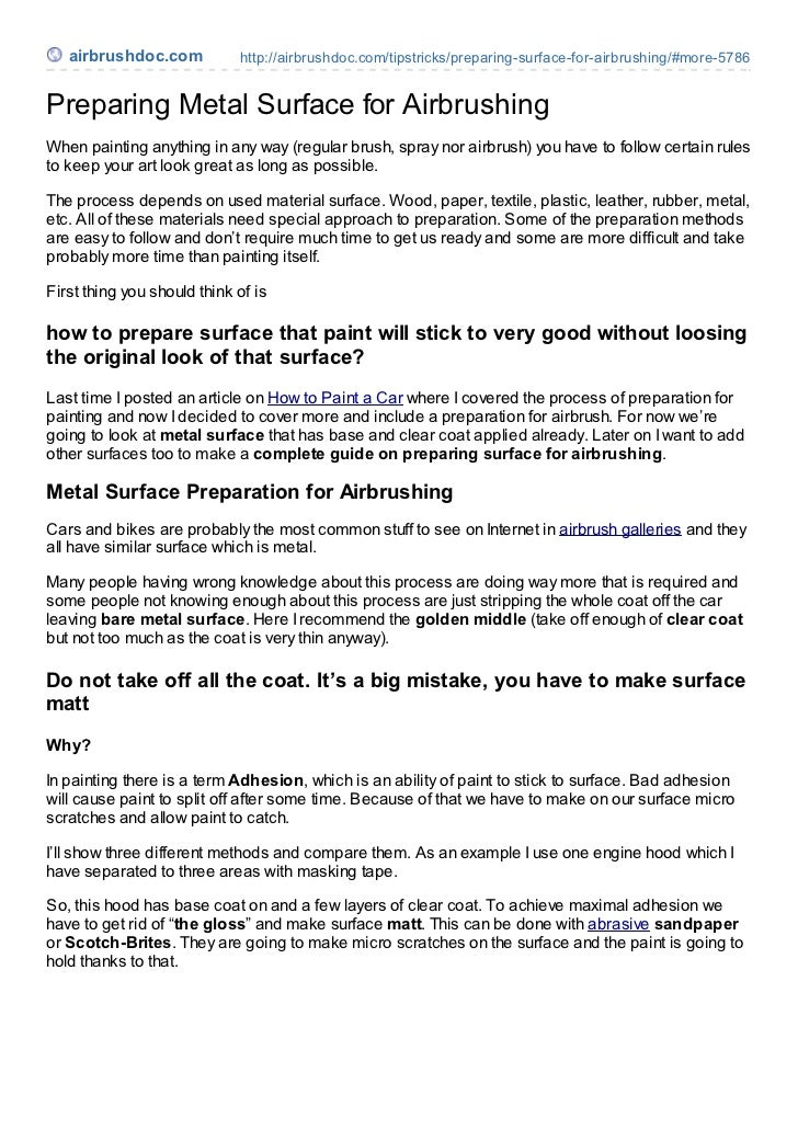 airbrushdoc.com           http://airbrushdoc.com/tipstricks/preparing-surface-for-airbrushing/#more-5786Preparing Metal Su...