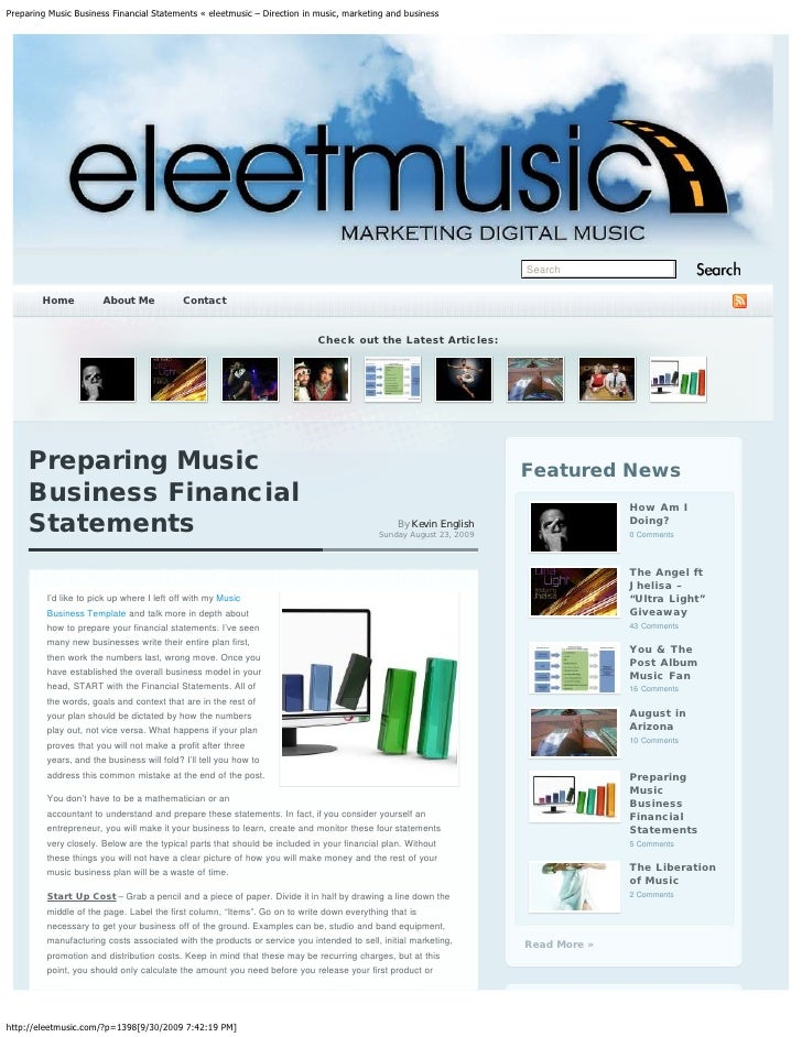 Preparing Music Business Financial Statements