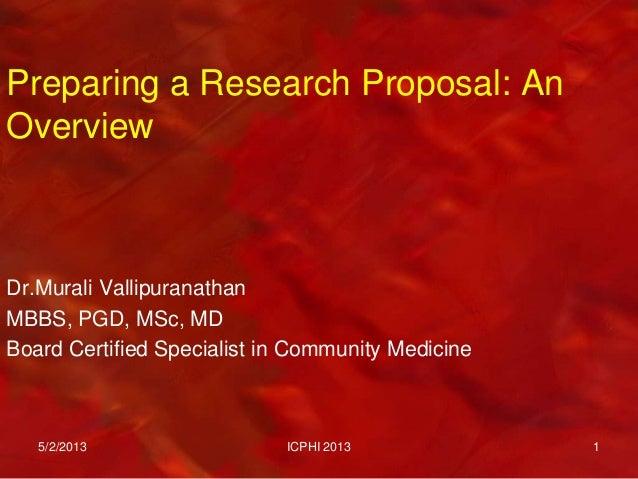 Preparing research proposal icphi2013