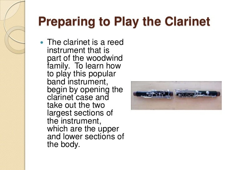 Preparing to play the clarinet