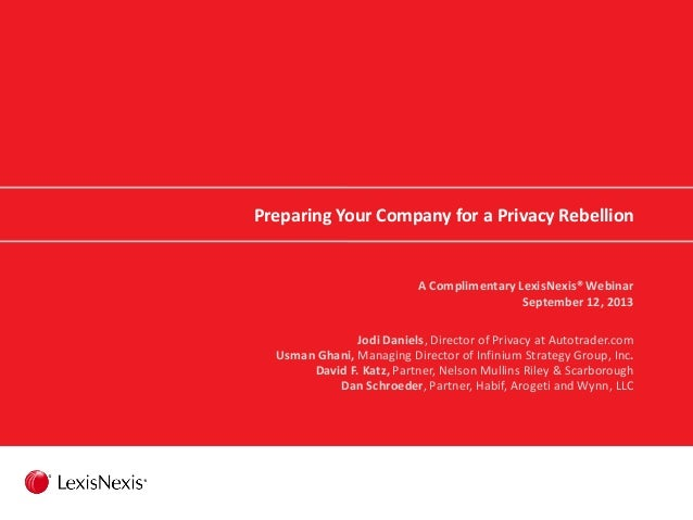 Preparing Your Company for a Privacy Rebellion A Complimentary LexisNexis® Webinar September 12, 2013 Jodi Daniels, Direct...