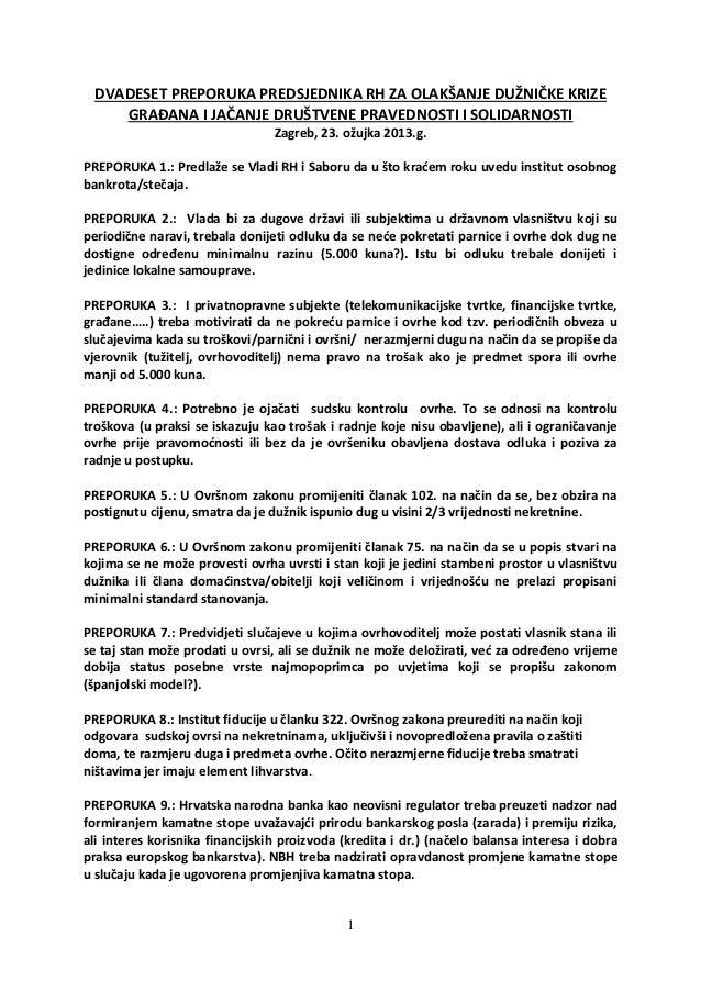 Preporuke Predsjednika RH za olakšanje dužničke krize