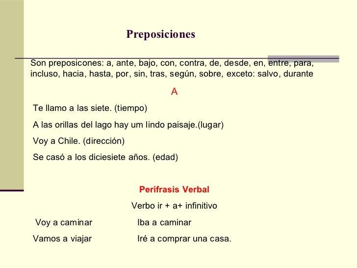 Espanhol - Preposiciones
