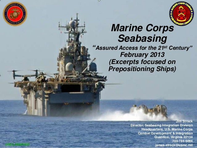 """Marine Corps                      Seabasing               """"Assured Access for the 21st Century""""                        Feb..."""