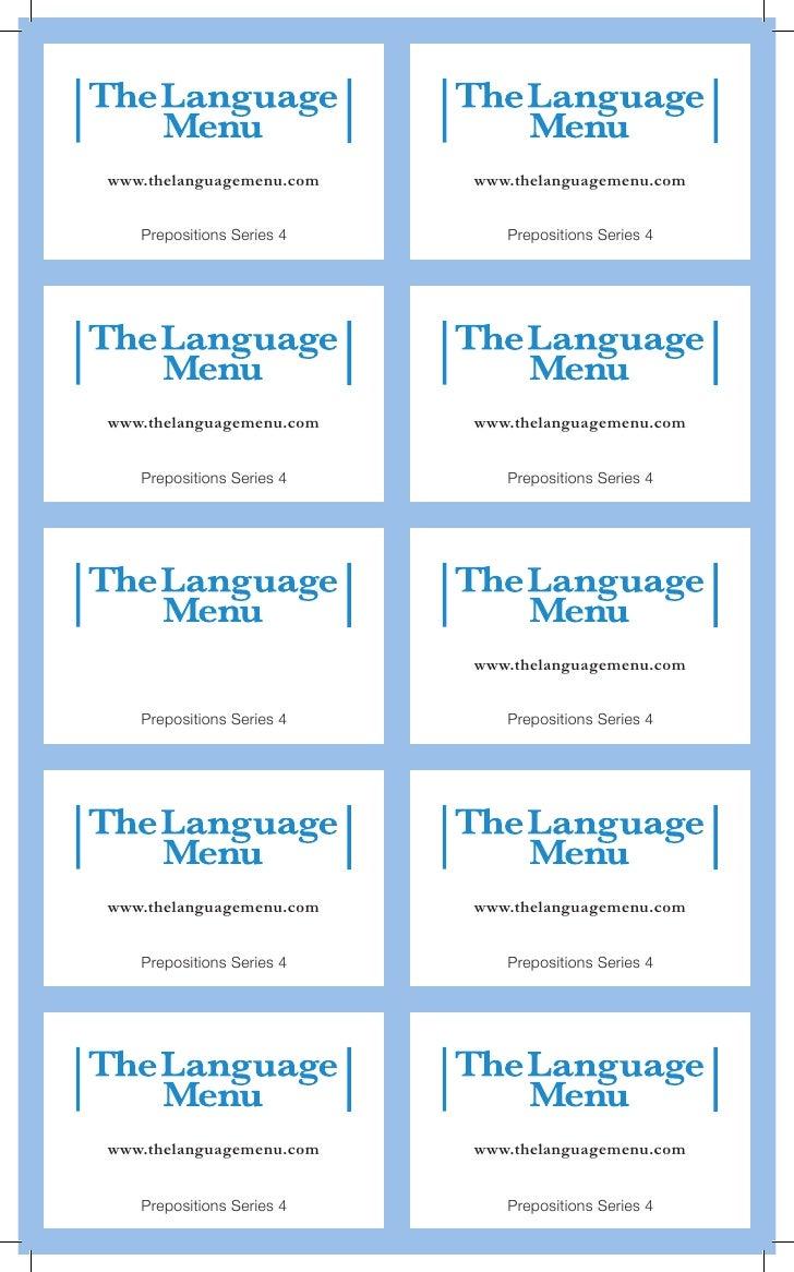 www.thelanguagemenu.com    www.thelanguagemenu.com   Prepositions Series 4      Prepositions Series 4www.thelanguagemenu.c...