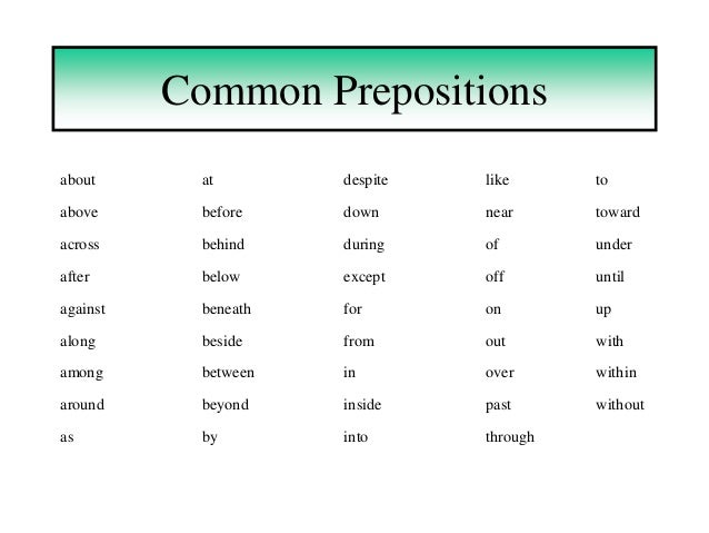 Prepositions Powerpoint1 on Word List For Grade 4