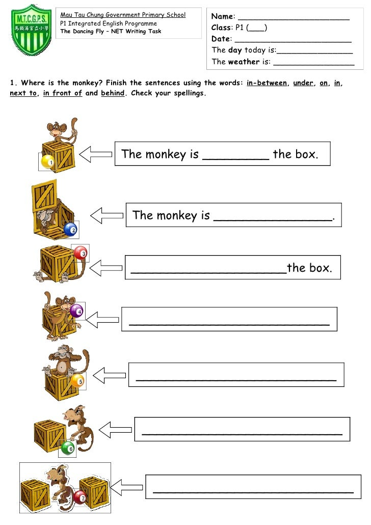 Printable Preposition Worksheets : Prepositions of place worksheet th grade preposition