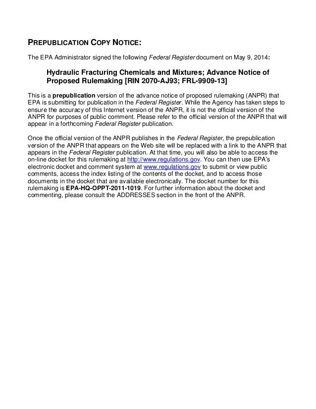 Hydraulic Fracturing Chemicals and Mixtures; Advance Notice of Proposed Rulemaking [RIN 2070-AJ93; FRL-9909-13]
