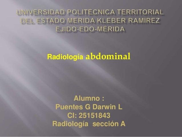Radiología abdominal Alumno : Puentes G Darwin L CI: 25151843 Radiología sección A