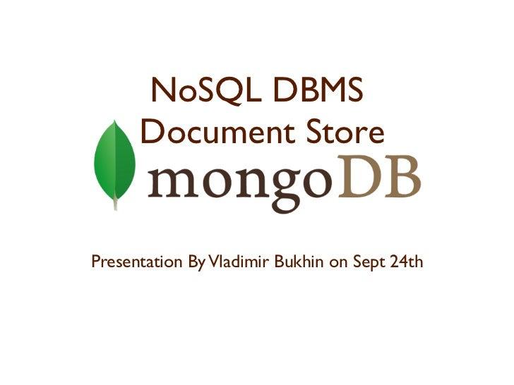 MongoDB NoSQL DBMS