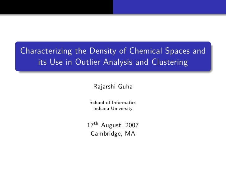 Characterizing the Density of Chemical Spaces and its Use in Outlier Analysis and Clustering