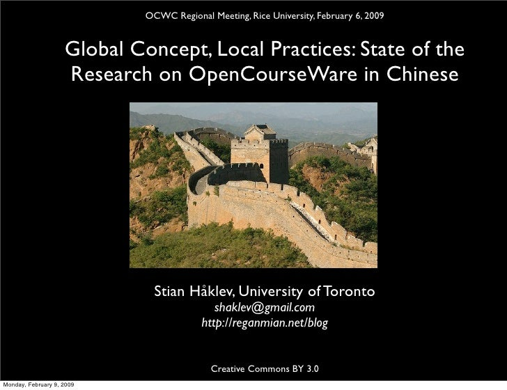 Global Concept, Local Practices: State of the Research on OCW in Chinese