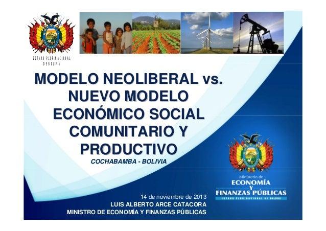 ESTADO PLURINACIONAL DE BOLIVIA  MODELO NEOLIBERAL vs. NUEVO MODELO ECONÓMICO SOCIAL COMUNITARIO Y PRODUCTIVO COCHABAMBA -...