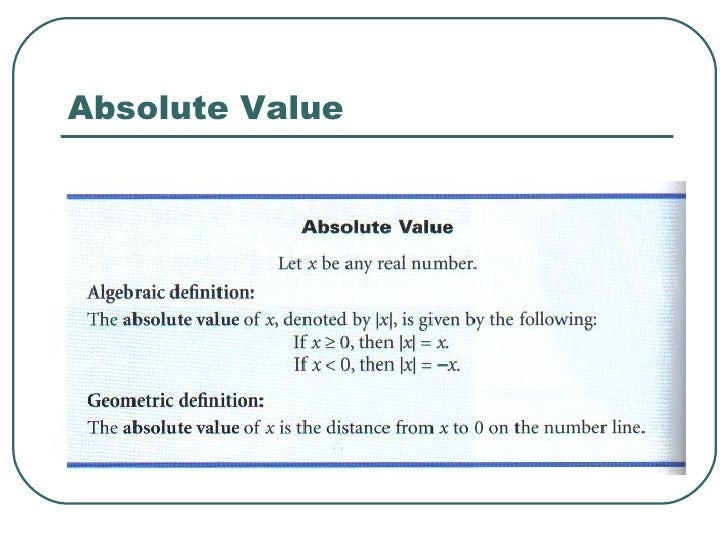 Pres   Absolute Value Inequalities (Section 1.8)