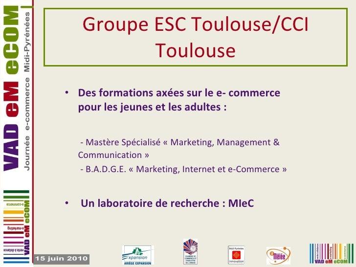 Groupe ESC Toulouse/CCI Toulouse <ul><li>Des formations axées sur le e- commerce pour les jeunes et les adultes : </li></u...