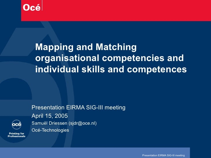 Mapping and Matching organisational competencies and individual skills and competences Presentation EIRMA SIG-III meeting ...