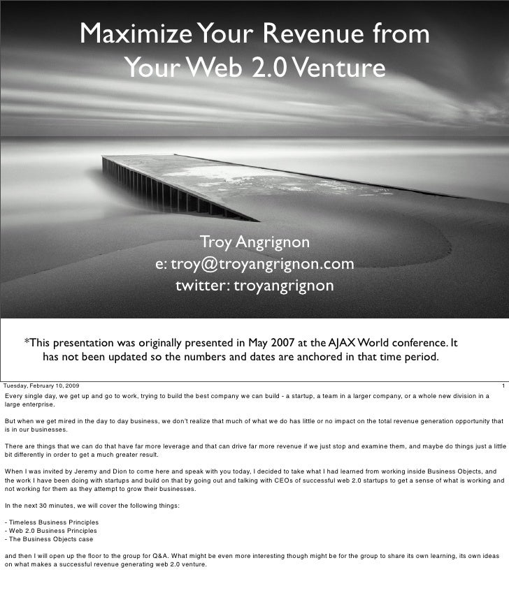 Maximize Your Revenue from                             Your Web 2.0 Venture                                               ...