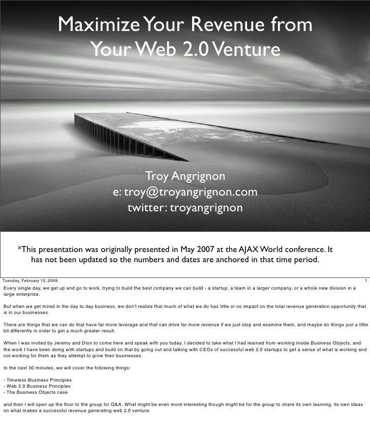 Pres Monetizing Your Web 2.0 Venture 2007 R20