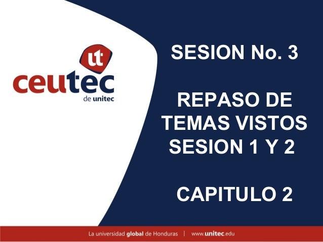 SESION No. 3  REPASO DETEMAS VISTOS SESION 1 Y 2 CAPITULO 2