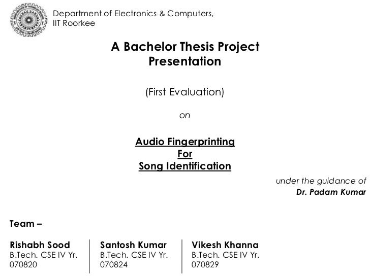 bachelor thesis project Of academe that chooses to work toward a degree beyond a bachelor's those used in the body of the thesis or indirectly in your thesis or project.