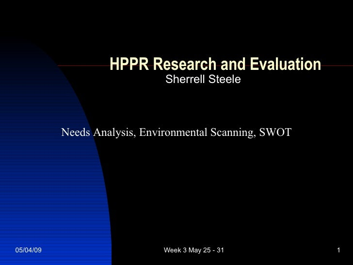 HPPR Research and Evaluation Sherrell Steele Needs Analysis, Environmental Scanning, SWOT