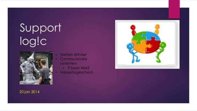 Support log!c • Steffen Witvliet • Communicatie systemen • 2ejaars WMS • Hanzehogeschool  20 jan 2014