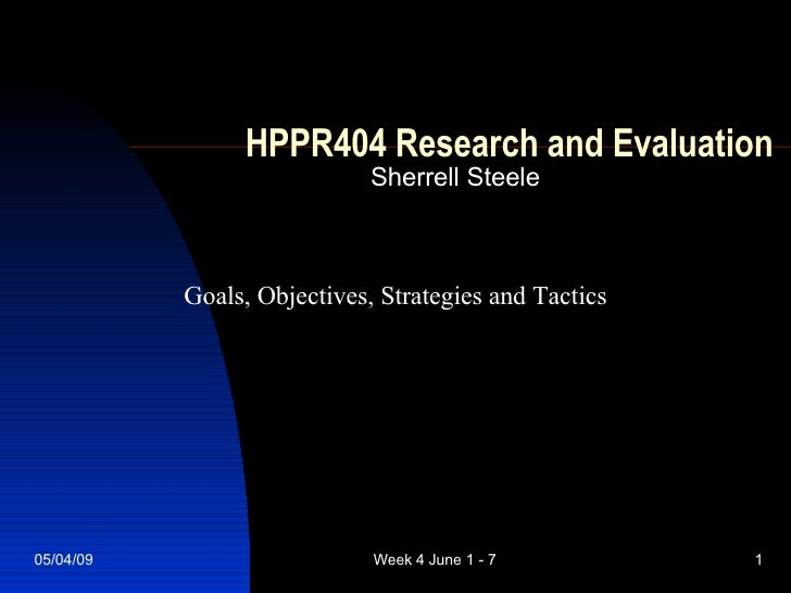 HPPR404 Research and Evaluation Sherrell Steele Goals, Objectives, Strategies and Tactics