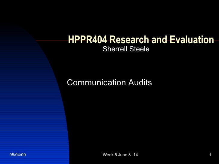 HPPR404 Research and Evaluation Sherrell Steele Communication Audits
