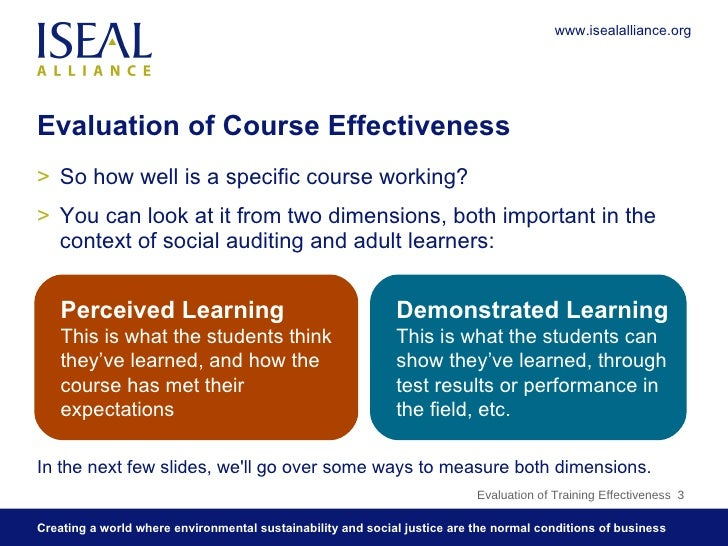 evaluate testing effectiveness On the basis of effective learning outcomes information is  test samples and/or all students at key points,  effective evaluation and assessment framework.