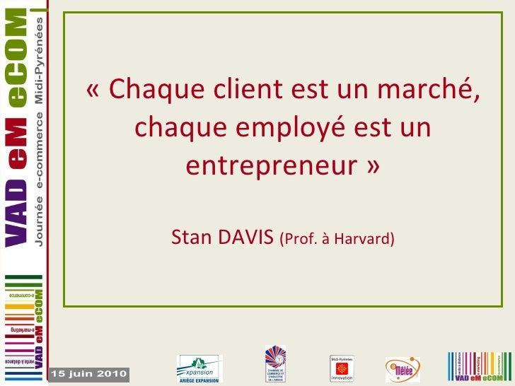 «Chaque client est un marché, chaque employé est un entrepreneur» Stan DAVIS  (Prof. à Harvard)