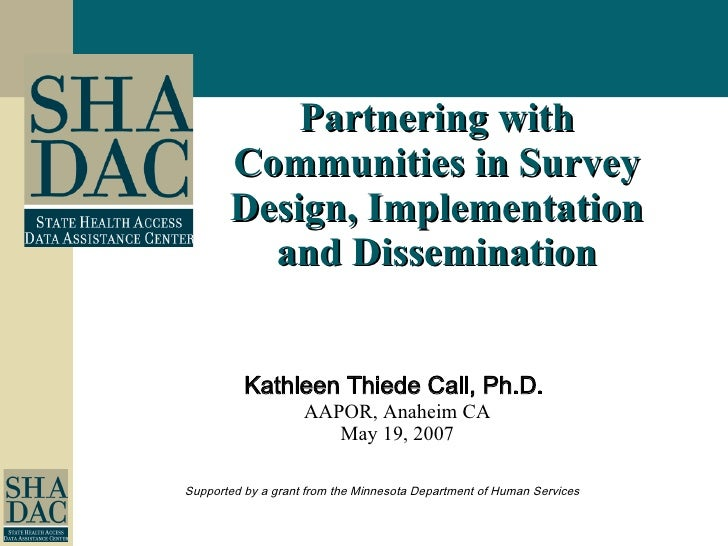 Partnering with Communities in Survey Design, Implementation and Dissemination
