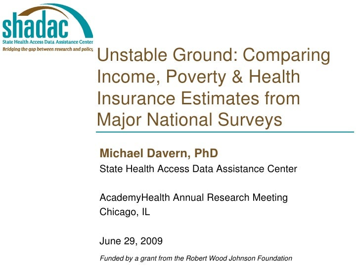 Unstable Ground: Comparing Income, Poverty & Health Insurance Estimates from Major National Surveys Michael Davern, PhD St...