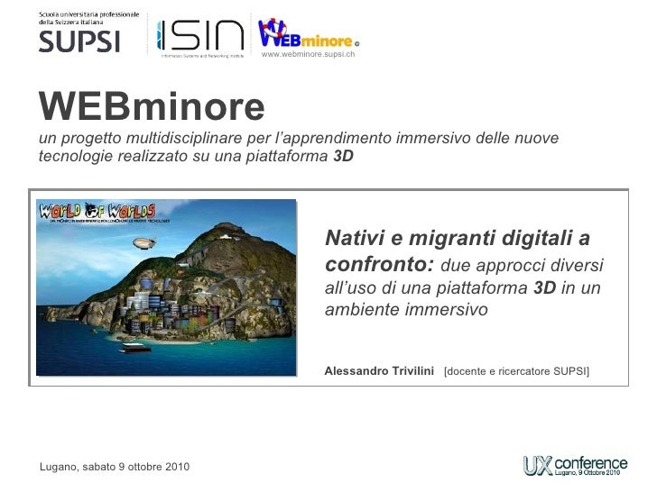 Nativi e migranti digitali a confronto: due approcci diversi all'uso di una piattaforma 3D in un ambiente immersivo