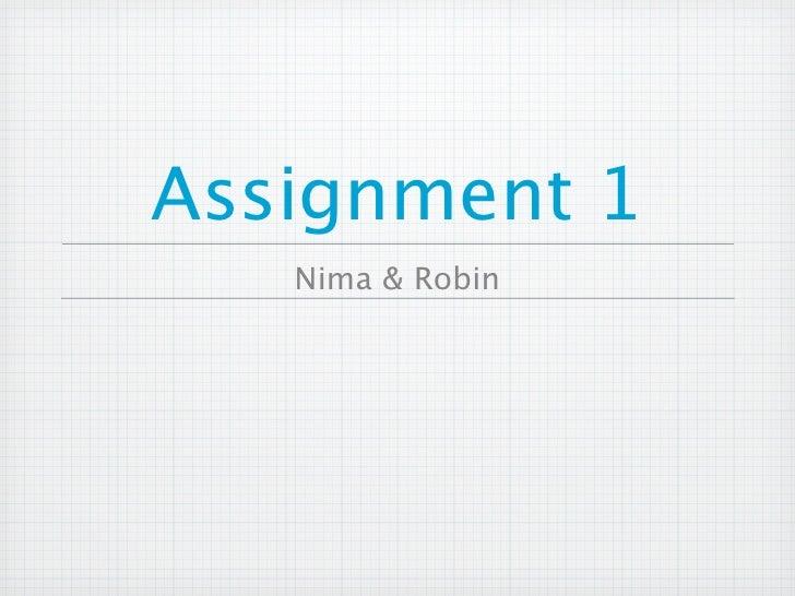 Assignment 1    Nima & Robin