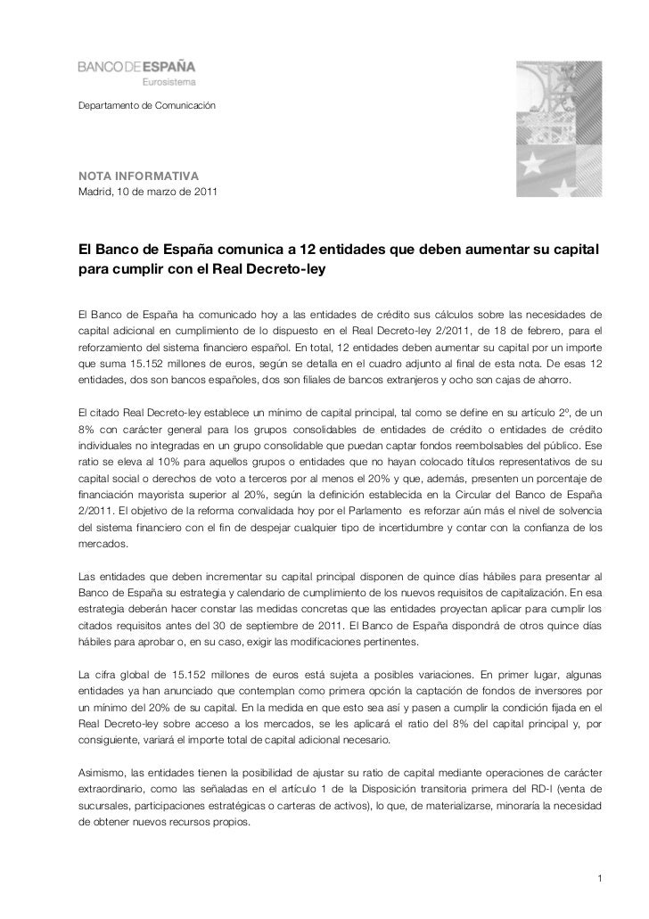 Departamento de ComunicaciónNOTA INFORMATIVAMadrid, 10 de marzo de 2011El Banco de España comunica a 12 entidades que debe...