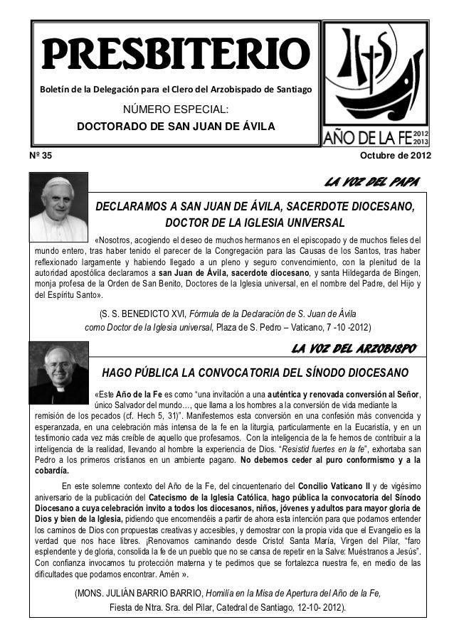 PRESBITERIO  Boletín de la Delegación para el Clero del Arzobispado de Santiago                          NÚMERO ESPECIAL: ...