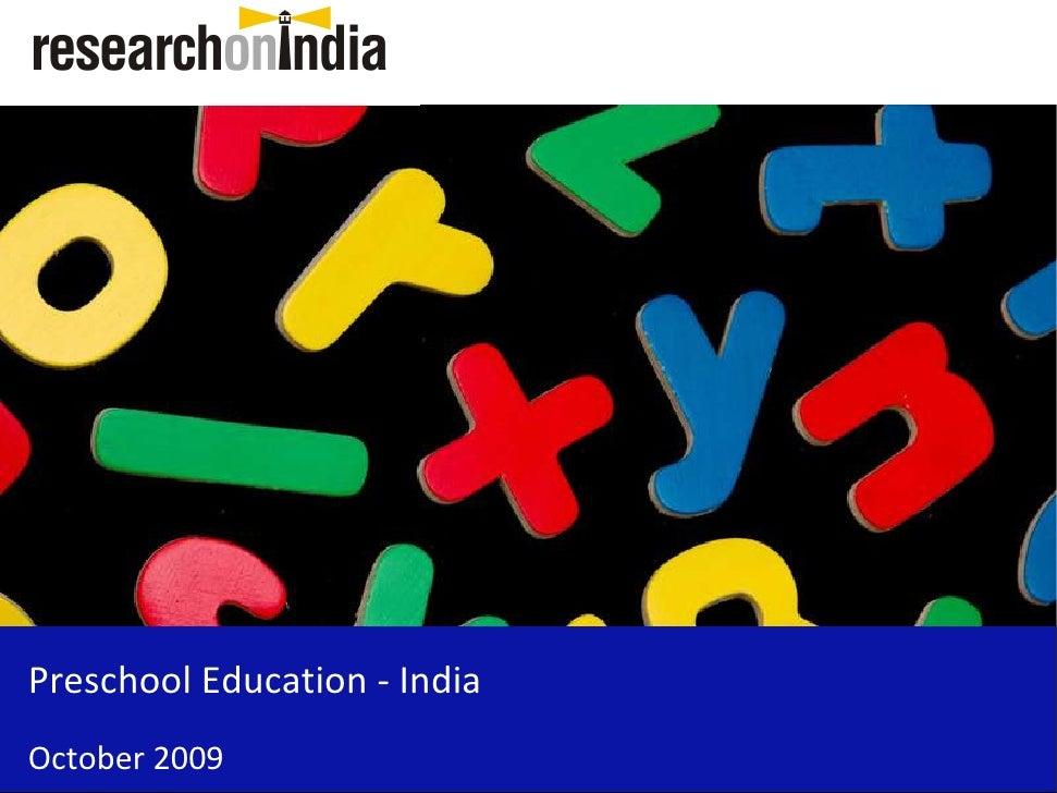 Preschool Education - India October 2009