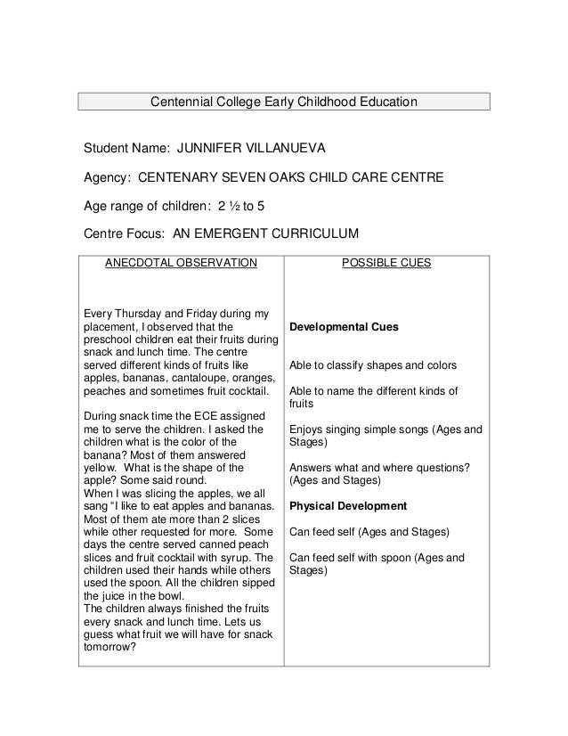 Centennial College Early Childhood EducationStudent Name: JUNNIFER VILLANUEVAAgency: CENTENARY SEVEN OAKS CHILD CARE CENTR...