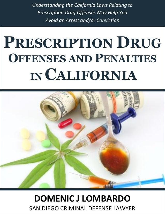 Prescription Drug Offenses and Penalties in California