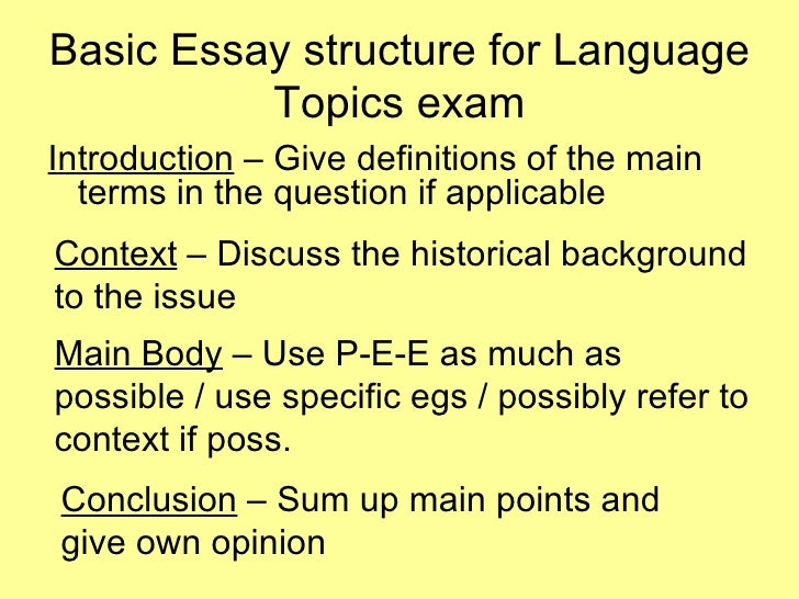 Basic Essay Structure - SEA - Supporting English