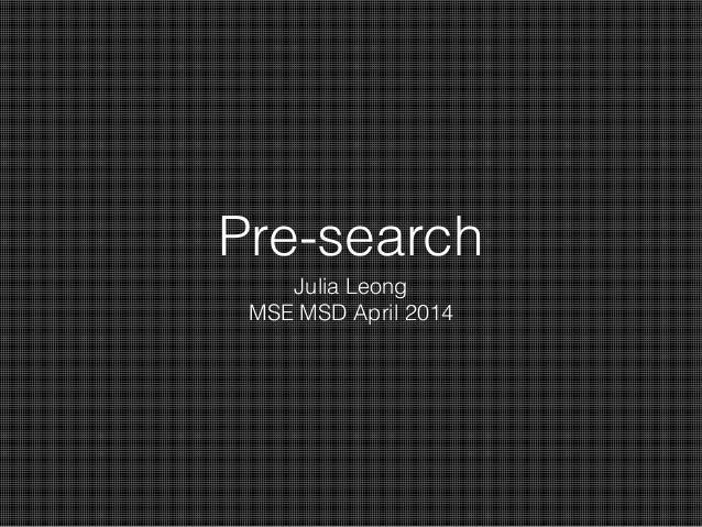 Pre search processs  K12