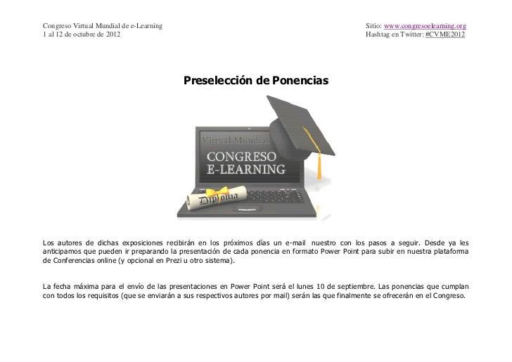Congreso Virtual Mundial de e-Learning                                                             Sitio: www.congresoelea...