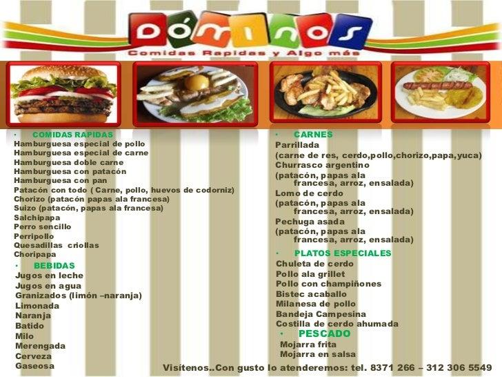 •    COMIDAS RAPIDAS                                     •   CARNESHamburguesa especial de pollo                          ...