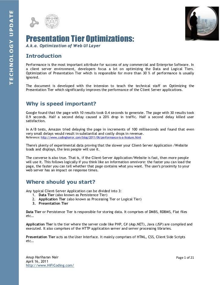 Presemtation Tier Optimizations