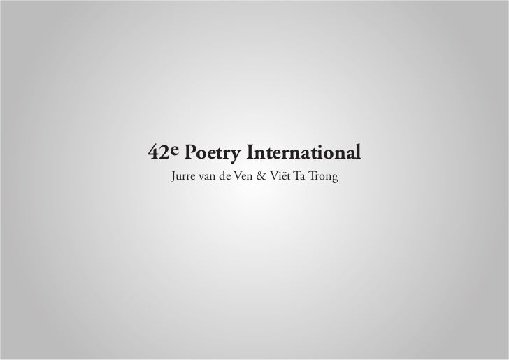 42e Poetry International  Jurre van de Ven & Viët Ta Trong