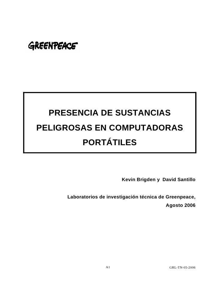 PRESENCIA DE SUSTANCIAS PELIGROSAS EN COMPUTADORAS            PORTÁTILES                               Kevin Brigden y Dav...