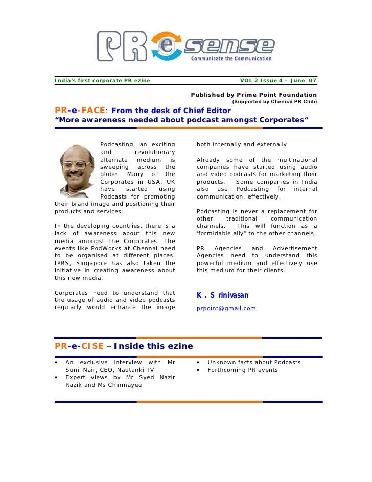 India's first corporate PR ezine                         VOL 2 Issue 4 – June 07                                          ...