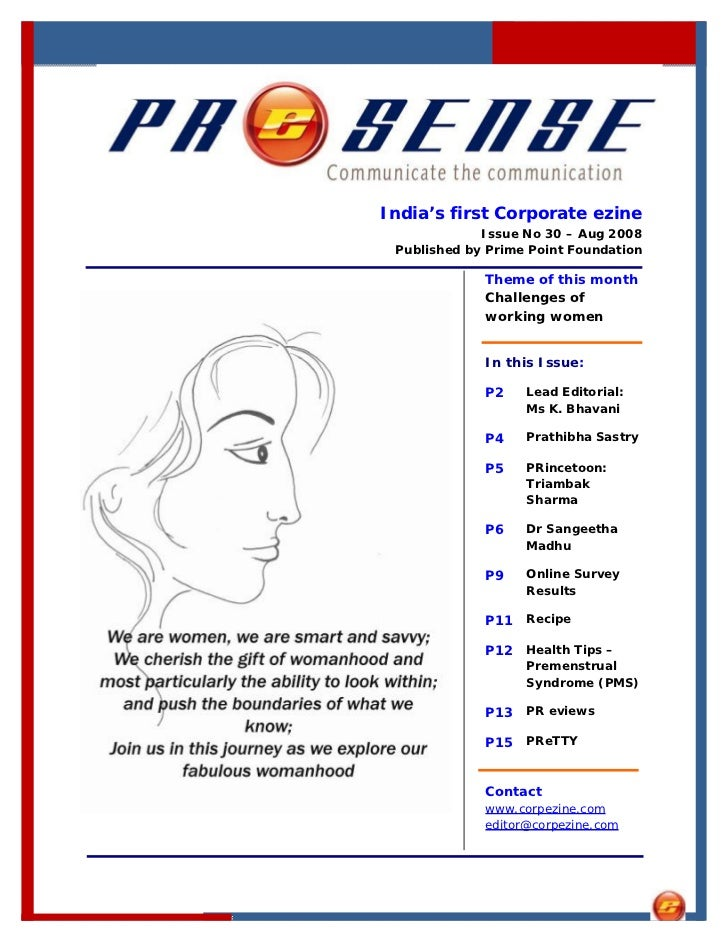 India's first Corporate ezine              Issue No 30 – Aug 2008  Published by Prime Point Foundation               Theme...