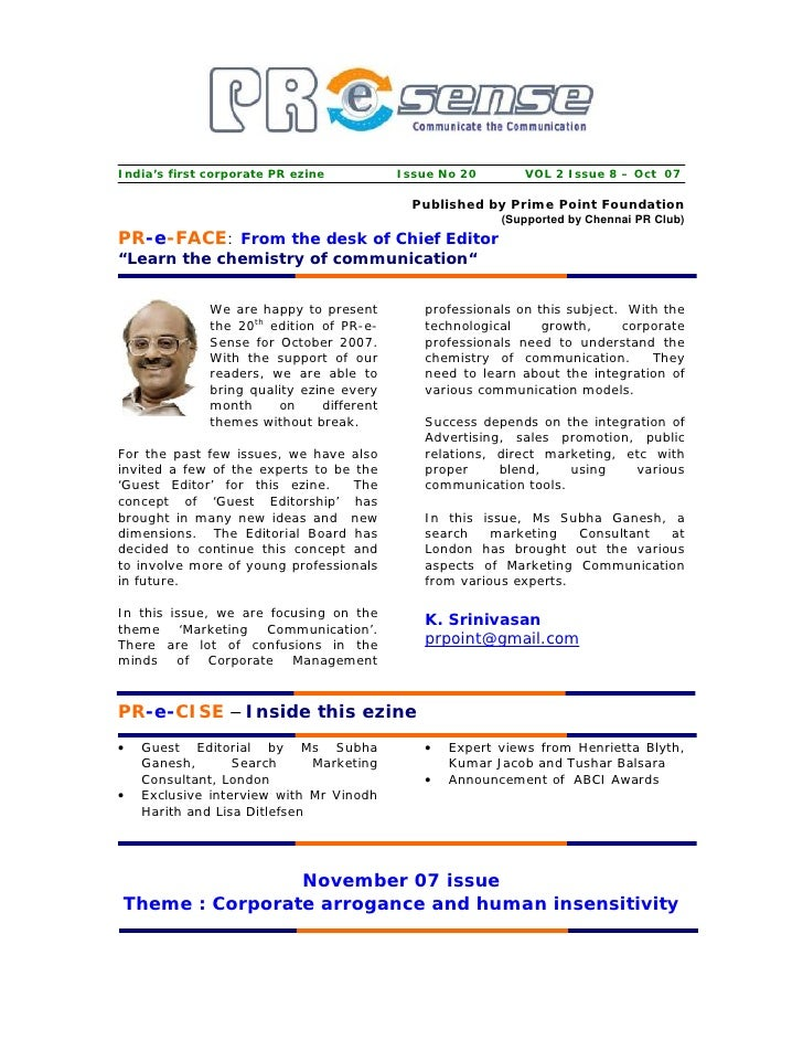 India's first corporate PR ezine           Issue No 20       VOL 2 Issue 8 – Oct 07                                       ...