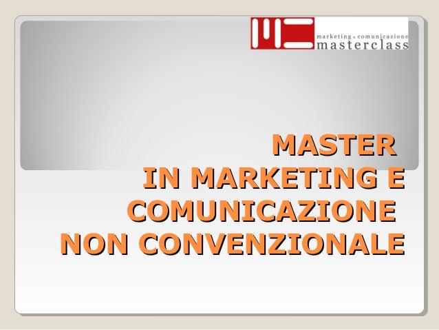 Master in Marketing e comunicazione non convenzionale
